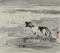 田辺至画「波に吠える犬」(「波」挿絵原画)