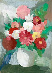 《花を生けた花瓶》 1950年頃 油彩、板 49.5×35.5 cm