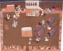 《荒れ狂う象を見るマハラーナ・ジャガット・シン》 ラージプト絵画-ラジャスタン絵画 メワール(ウダイプール)派  1740年頃  37.5×45.3cm