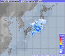 気象庁発表11時25分現在の雨雲レーザー