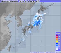 気象庁発表午前7時55分現在の雨雲レーダー