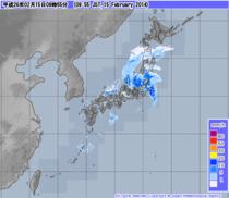 気象庁発表午前10時現在の雨雲レーダー