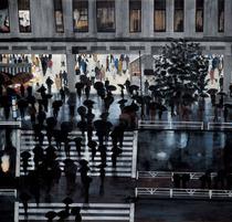 米谷清和 「夕暮れの街」 1992年 190.0×200.0cm 雲肌麻紙・岩絵具 三鷹市美術ギャラリー蔵