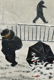 「雪降る、朝」 2015年 116.7×90.9cm 雲肌麻紙・岩絵具